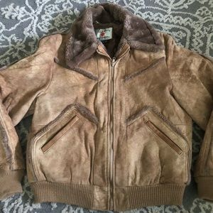 Field and stream vintage Sherpa  leather jacket